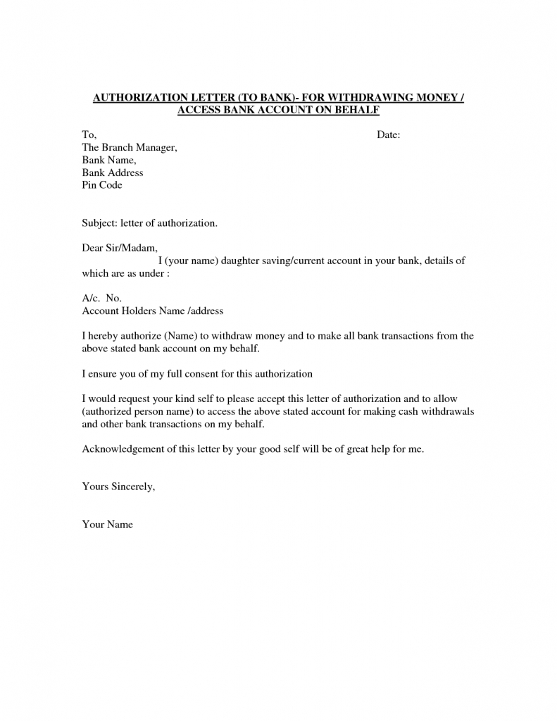 Authority Letter Format Authorize Person Best Template Sample