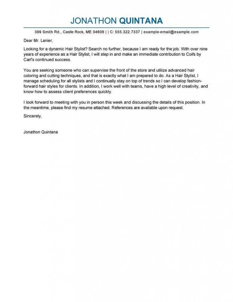 Best Salon Hair Stylist Cover Letter Examples | Livecareer