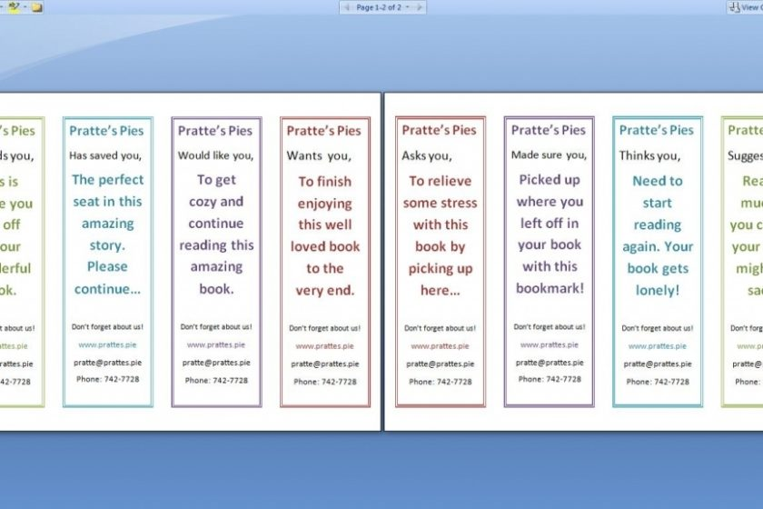 Double Sided Bookmark Template Free - Google Search   Bookmark