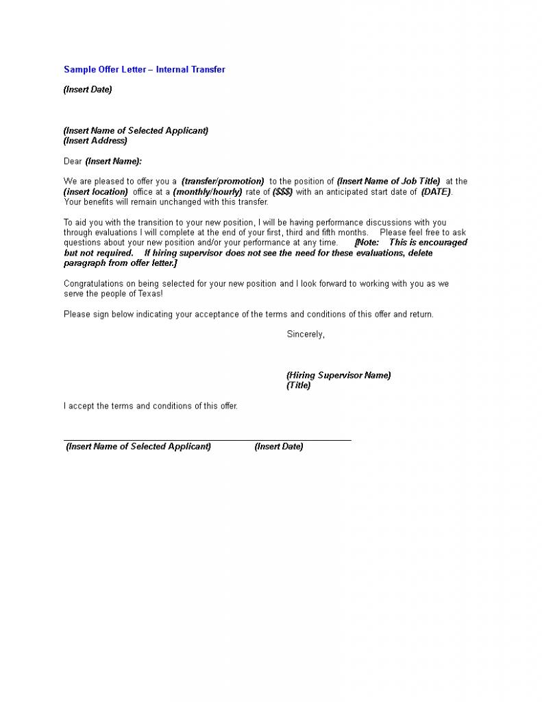 Internal Transfer Offer Letter | Templates At Allbusinesstemplates