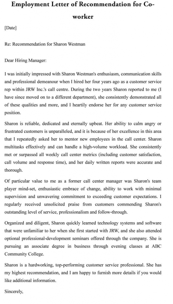 Letter Of Recommendation For Co-Worker (18 Sample Letters & Examples)