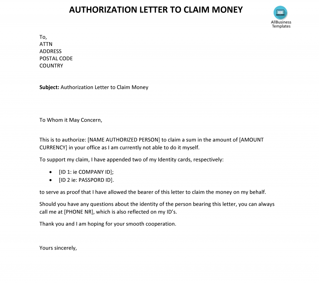 Authorization Letter To Collect Money