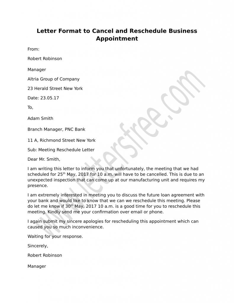 Reschedule Appointment Letter Samples